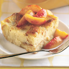 Lemon-Spice Bread Pudding with Sauteed Peaches