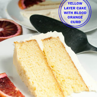 Yellow Layer Cake with Blood Orange Curd and Vanilla Buttercream