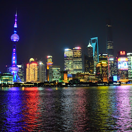 The Bund by Cris Lhh - City,  Street & Park  Skylines ( water reflections, bund, the bund, reflections, shanghai, china )