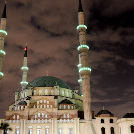 Mosque green by Yvan Coertzen - Buildings & Architecture Places of Worship ( lights, building, sky, green, mosque, night, architecture )