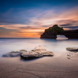 sunset escapade by Anton Subiyanto - Landscapes Beaches ( bali, twilight, waterscapes, dusk, temple, beaches, dawn, sunset, long exposure, sunrise, tanah lot, landscapes, rocks, slow shutter )