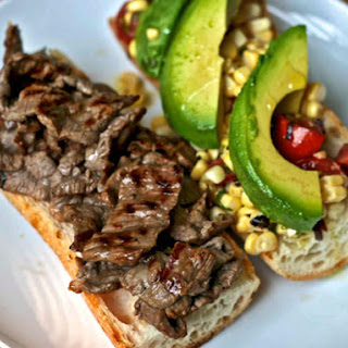 Steak Sandwich with Corn, Tomato, and Avocado