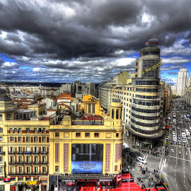 Madrid, Gran Via by Rino Calori - City,  Street & Park  Vistas ( hdr, madrid, gran via, callao, spain )