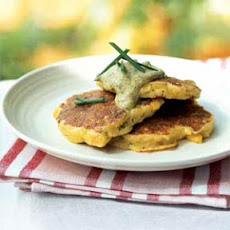 Fresh Corn and Scallop Johnnycakes with Green Onion Sauce
