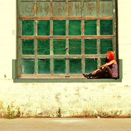 Green door. by Kallie Snyder - Novices Only Street & Candid ( idaho, young woman, red hair, green, hot, thai, door, summer, sydney,  )