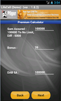 Screenshot of LIC PREMIUM CALCULATOR -PFIGER