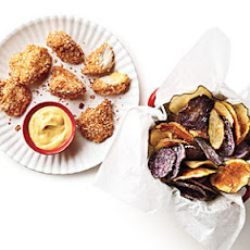 Chicken Nuggets with Crispy Potato Chips and Honey Mustard