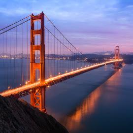 Golden Gate Fire by Eric Yiskis - Buildings & Architecture Bridges & Suspended Structures ( golden gate bridge, time lapse, sunset, light trails, landscape, san francisco )