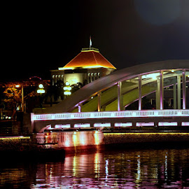 Elgin Bridge near Singapore Parliament on Singapore River by Leong Jeam Wong - Buildings & Architecture Bridges & Suspended Structures ( parliament, bridge, elgin, singapore, river )