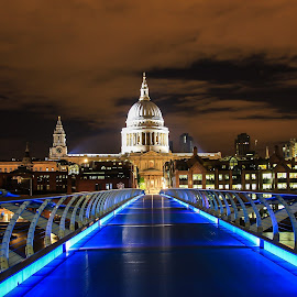 St Paul's  by Nachau Kirwan - City,  Street & Park  Night ( lights, london, night photography, bridge, nightscape,  )