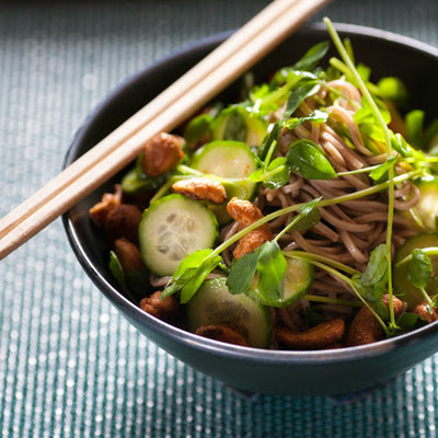 Chilled Sesame Soba Noodle Salad with Spiced Cashews