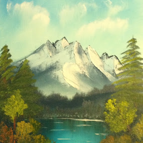 Little Lake by Kelly Maize - Painting All Painting ( clouds, water, stream, mountains, trees, lake, landscape, oil painting )