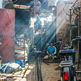 Morocco souk by Steve Griffiths - City,  Street & Park  Street Scenes ( work, market, bike, street, souk, morocco, light )