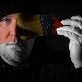 Self Portrait by Kris Sokalski - People Portraits of Men ( paint brush, color, black and white, artistic )