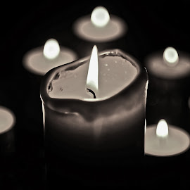 Candles  by Julija M. - Novices Only Objects & Still Life ( candle, novice, black and white, candlelight, candles, novices only, candle light, nikon, photography )