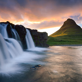 The church mountain by Lucian Satmarean - Landscapes Mountains & Hills ( water, iceland, mountain, green, sunset, waterfall )