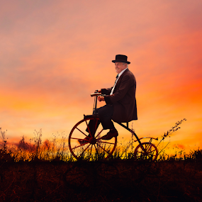 Wheels of happiness  by Matej Skubic - Digital Art People ( grass, sunset, wheels of happiness, old man, bicycle man )