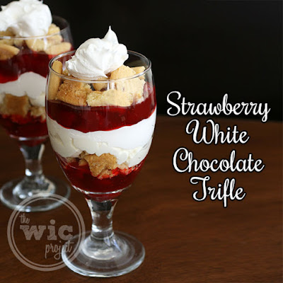 Easy Strawberry White Chocolate Trifle with Lucky Leaf #LuckyLeafSpring