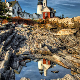 Iconic Pemaquid by Len Saltiel - Landscapes Travel ( #lighthouse #maine #pemaquidpoint #landscape #reflection )