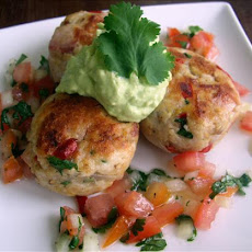 Chicken Cakes With Avocado Mayonnaise and Tomato Salsa