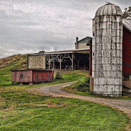 In The Valley by Jackie Sleter - Digital Art Places ( cool, farm, barn, artful, country )