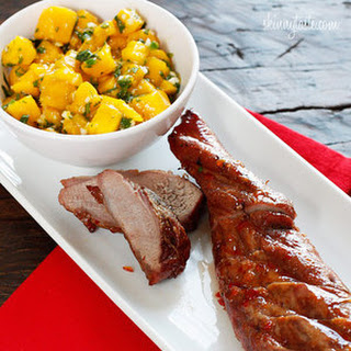 Skinnytaste.com Sweet and Fiery Pork Tenderloin with Mango Salsa