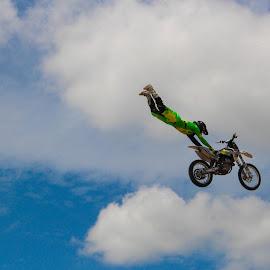 superman by Kimberly Mehrer - Sports & Fitness Motorsports ( bird, free, blue sky, freedom, motorbike, motorcross, motorcycle )