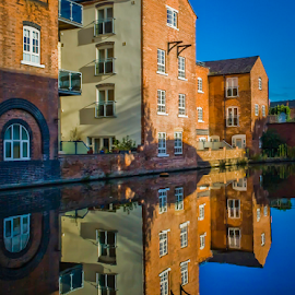 Post-Industrial Reflection by Ben Carrett - Buildings & Architecture Homes ( water, colour, reflection, uk, worcester, post industrial, symmetry, apartments, canal, diglis )