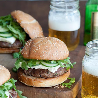 Lamb Burger with Arugula, Feta & Cucumbers