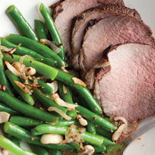 Cocoa Roast Beef & Garlicky Green Beans with Crispy Shallots