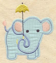 Elephant with Umbrella Applique