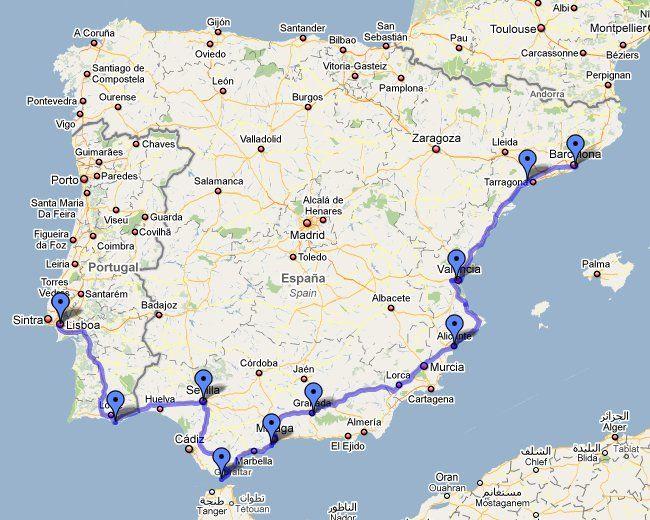 Маршрут нашего путешествия по Испании и Португалии