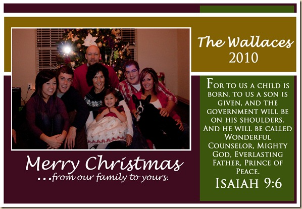 Wallace Christmas Card 2010