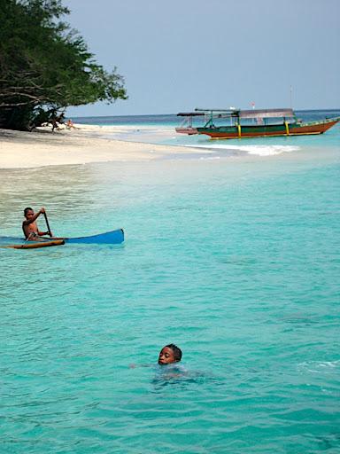 Local boys in the sea off Gili Trawangan