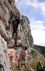 Wspin na El Pueblo. Wspina się Adam, ja asekuruję.