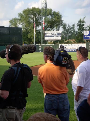 The Media watches Strasburg warm-up