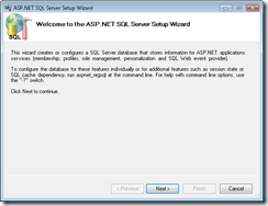 ASP.NET SQL Server Membership database setup wizard