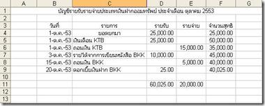 บัญชีรายรับรายจ่ายเงินฝากออมทรัพย์2