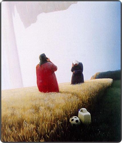 4 TELESNAK I EN KORNMARK. 2004. 200 X 148 cm.