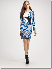 Emilio Pucci Orchidee Print Boatneck Dress