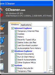 Ccleaner main windows