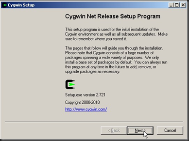 Cygwin Install and configuration