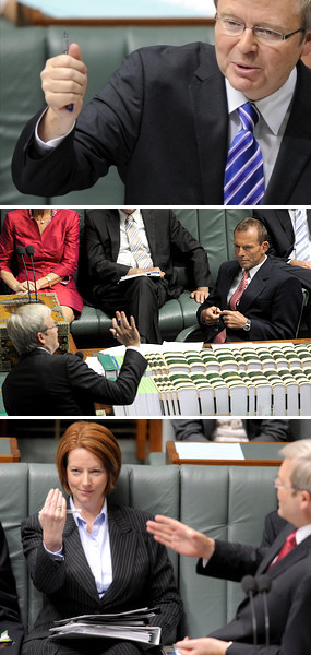 montage of three pictures of Kevin Rudd, Tony Abbott & Julia Gillard in Federal Parliament