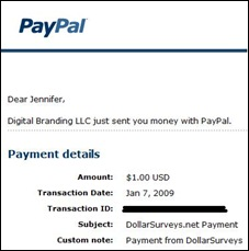 Dollar Survey Payment