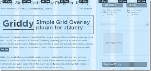 Griddy – Customizable Grid Overlay jQuery Plugin