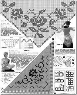 схема шали филейным вязанием