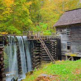 Mingus Grist Mill by Sandy Friedkin - Buildings & Architecture Public & Historical ( water turbine power, grist mill, mingus )