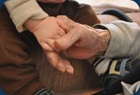 L holding Granddads hands