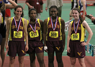 SHS 4 x 200m advances to the New England Indoor Championships (l to r) Ali Kirsch, Jen Jaboin, Camille Henry & Sara Gildersleeve