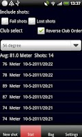 Screenshot of Golf GPS Club Length